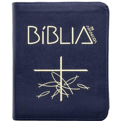 Biblia Sagrada de Aparecida Zíper Azul M
