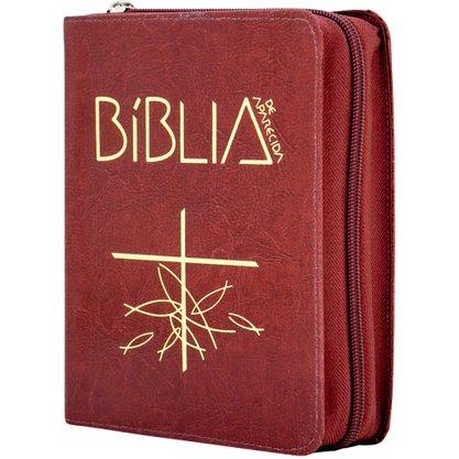 Biblia Sagrada de Aparecida Ziper Bolso Vermelha