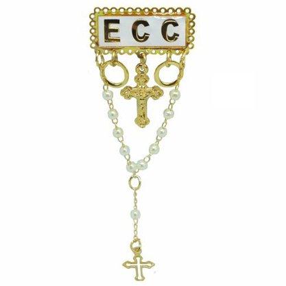 Boton ECC Branco com Terço - 8cm
