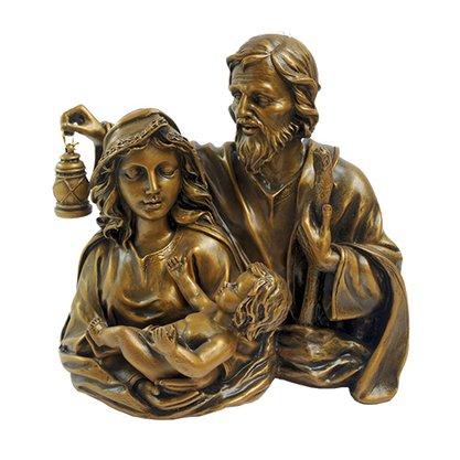 Busto Sagrada Família em Mármore com Pintura em Bronze 25cm
