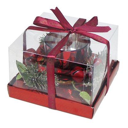 Candelabro com Arranjos de Natal - Vermelho - 17cm