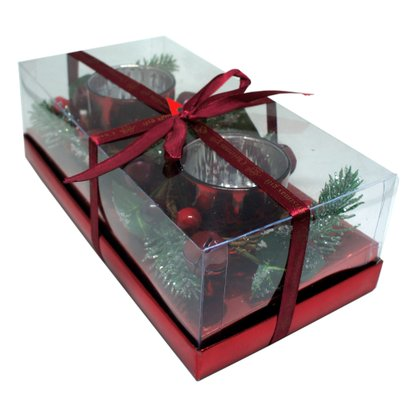 Candelabro com Arranjos de Natal - Conjunto com Dois - Vermelho