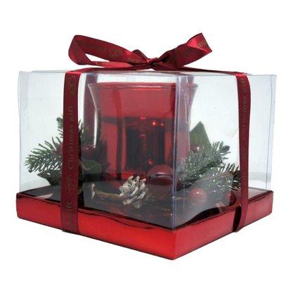 Candelabro com Arranjos de Natal - Vermelho - 12cm