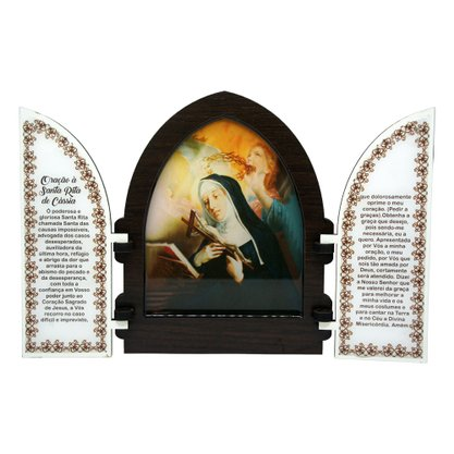 Capela em MDF Resinado Santa Rita de Cássia com Portas - 18cm