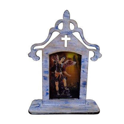 Capela em MDF Patinado Santinho Holográfico 18 cm