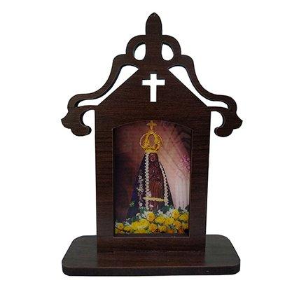Capela em MDF Tabaco Santinho Holográfico 18 cm