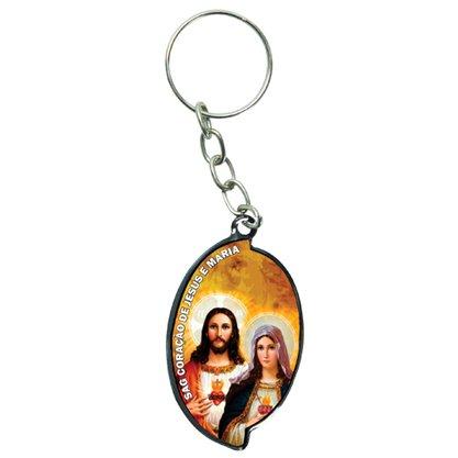 Chaveiro Aba Sagrado Coração de Jesus e Maria - Dúzia