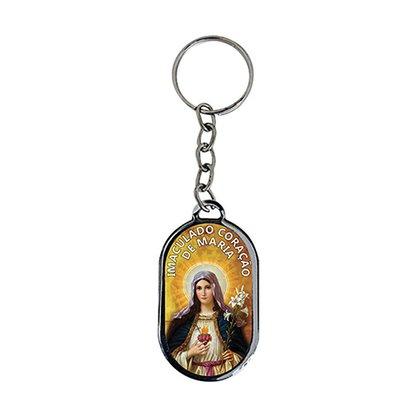 Chaveiro Chapa Sagrado Coração de Maria - Dúzia