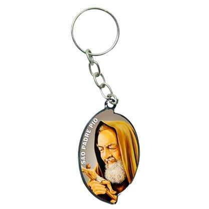 Chaveiro Chapa Oval Aba Padre Pio - Dúzia