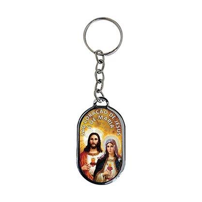 Chaveiro Chapa Sagrado Coração de Jesus e Maria - Dúzia