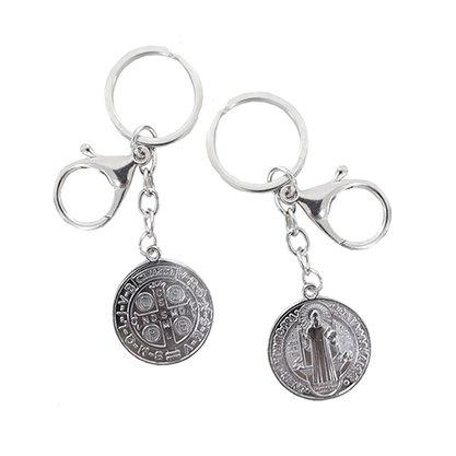 Chaveiro Medalha São Bento Prateado com Mosquete