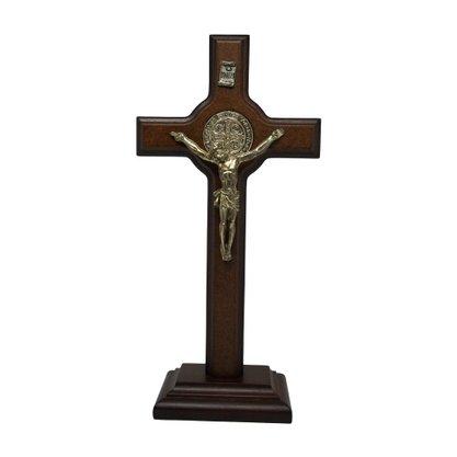 Crucifixo de Madeira com Prata de São Bento 23 cm