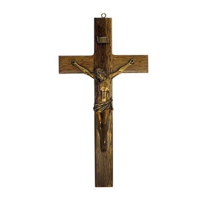 Crucifixo de Madeira e Cristo em Mármore com Pintura em Bronze 42cm