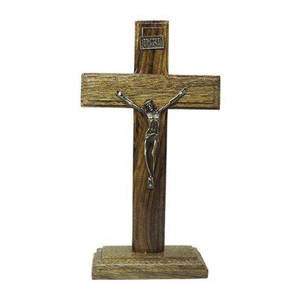 Crucifixo de Mesa em Madeira Cristo e Placa INRI em Metal 20 cm