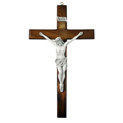 Crucifixo de Parede em Madeira e Cristo em Mármore - 38cm