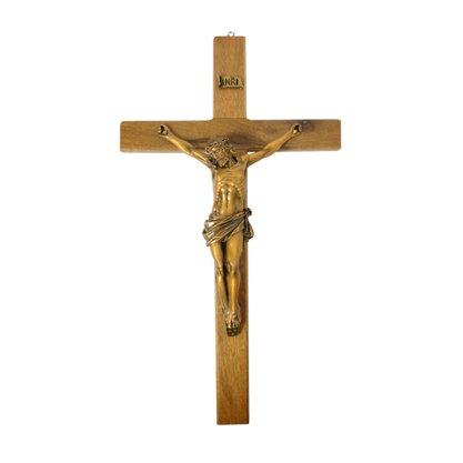 Crucifixo de Parede em Madeira e Cristo em Mármore e Pintura em Bronze 53cm