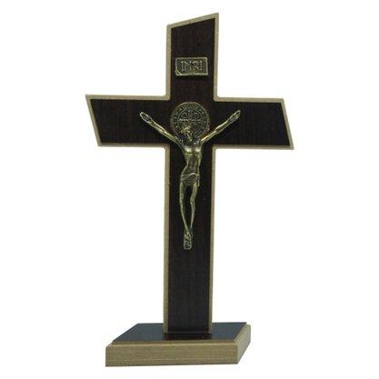 Crucifixo de Parede/Mesa Mdf em Tabaco 22 cm