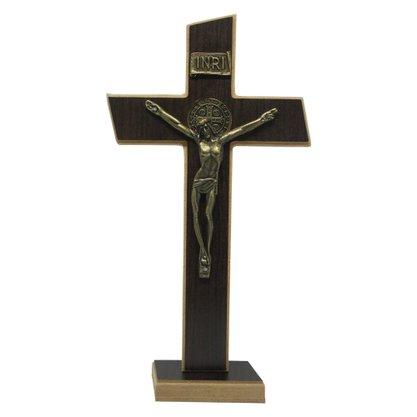Crucifixo de Parede/Mesa Mdf em Tabaco 26 cm