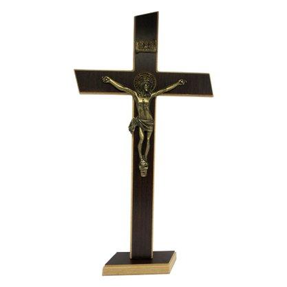 Crucifixo de Parede/Mesa Mdf em Tabaco 36 cm