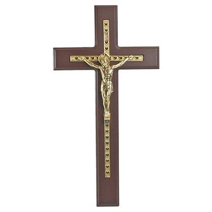 Crucifixo em Madeira Escura com Dourado 50 cm