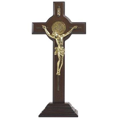 Crucifixo de Mesa  São Bento em Madeira com Dourado - 38cm
