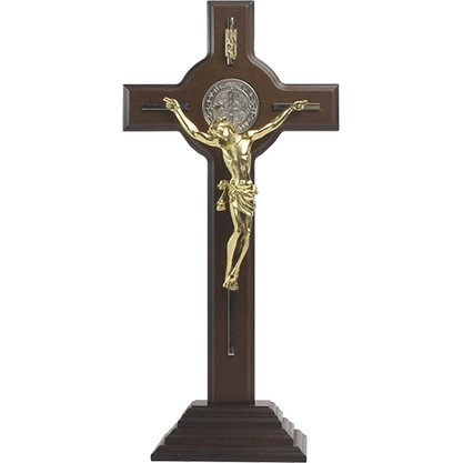 Crucifixo de Mesa São Bento em Madeira com Prata 38 cm