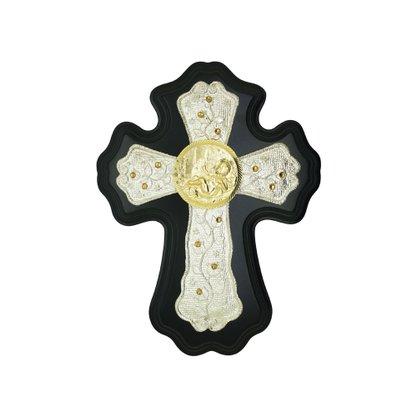 Cruz Batismo Dourado e Prata Madeira com Strass 20 cm