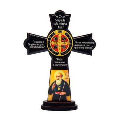 Cruz de Mesa São Bento em MDF Resinado 15 cm