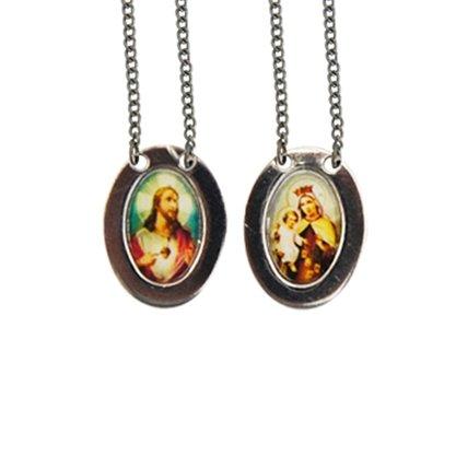 Escapulário Oval Mini Foto Color Nossa Senhora do Carmo Inox Preço de 6 unidades
