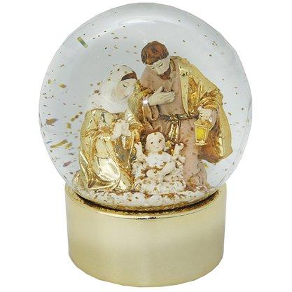 Globo de Água Natal com Base em Dourado - 12,5cm