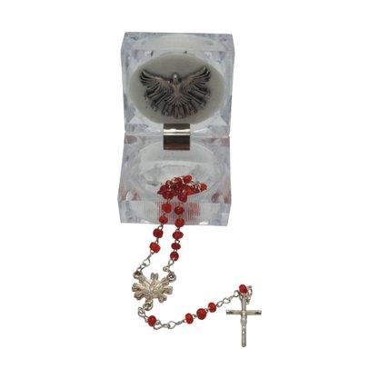 Lembrança de Crisma Terço em Missanga Vermelha - 33cm