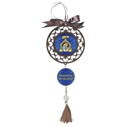 Mandala Personalizado 2 Medalhas Redondas MDF Resinada 12 cm
