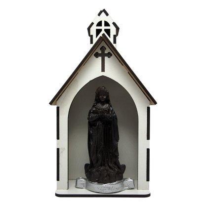 Capela MDF Branca com Imagem de Resina 11 x 21 cm