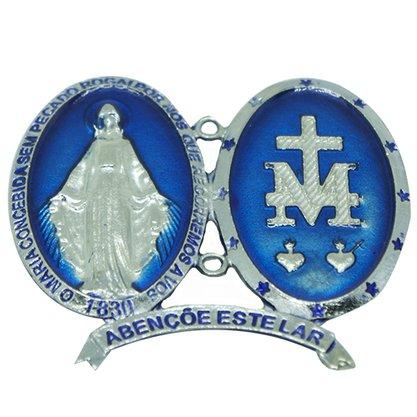 """Medalha de Porta Nossa Senhora das Graças Fundo Azul com a Frase: """"Abençoe este Lar"""""""