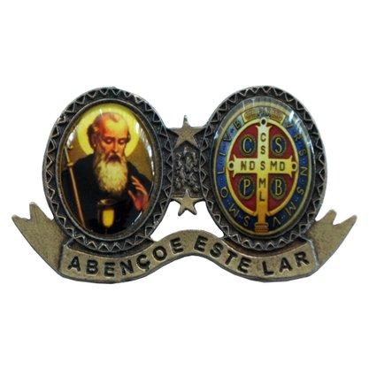 """Medalha de Porta de São Bento Ouro Velho com a Frase: """"Abençoe este Lar"""""""