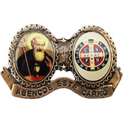 """Medalha de São Bento Ouro Velho com a Frase: """"Abençoe este Carro"""""""