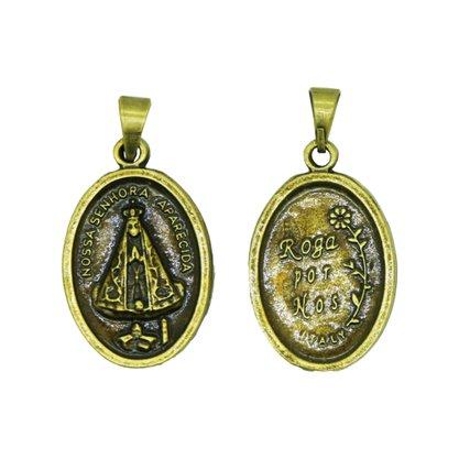 Medalha Nossa Senhora Aparecida Oval Ouro Velho 12 Unidades