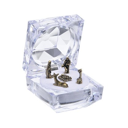 Mini Presepio em Ouro Velho na Caixa Acrílica