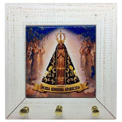 Porta Chaves Azulejo com Moldura em Madeira Nossa Senhora Aparecida e Anjos - 16cm