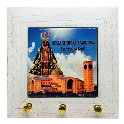 Porta Chaves Azulejo com Moldura em Madeira Nossa Senhora Aparecida e Basílica - 16cm