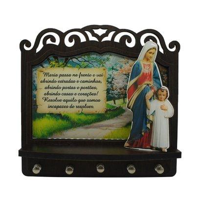 Porta Chaves Maria Passa na Frente 3D Madeira Resinada 18cm