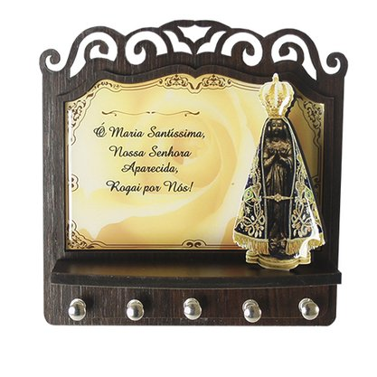 Porta Chaves Nossa Senhora Aparecida 3D Madeira Resinada - Amarelo - 18cm