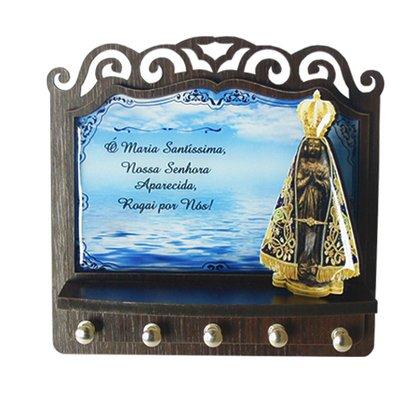 Porta Chaves Nossa Senhora Aparecida 3D Madeira Resinada - Azul - 18cm
