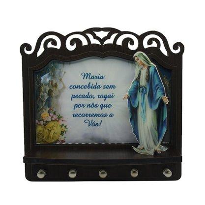 Porta Chaves Nossa Senhora das Graças 3D Madeira Resinada - 18cm