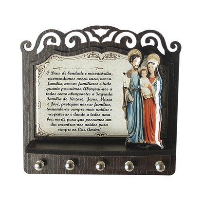 Porta Chaves Sagrada Família 3D Madeira Resinada - 18cm