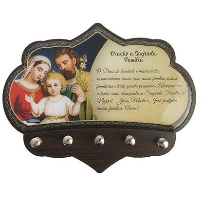 Porta Chaves Sagrada Família em MDF Resinado - 16cm