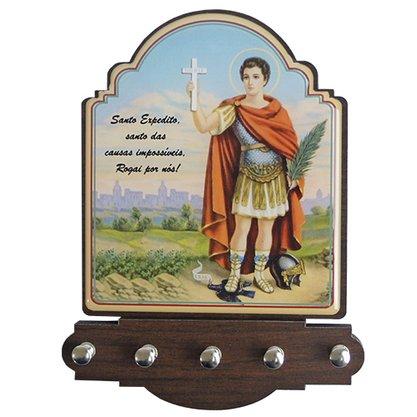 Porta Chaves Santo Expedito Modelo Provençal em MDF Resinado - 21cm