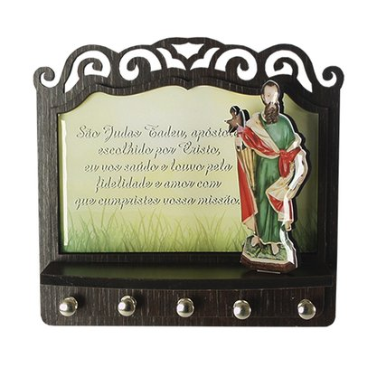 Porta Chaves São Judas Tadeu 3D Madeira Resinada - 18cm