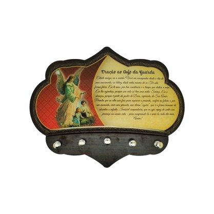 Porta Chaves Anjo da Guarda em MDF Resinado 16 cm