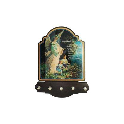 Porta Chaves Anjo da Guarda Modelo Provençal em MDF Resinado 21 cm